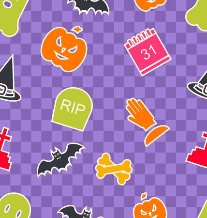 31th: Illustration Seamless Abstract Texture with Funny Colorful Halloween Symbols - Vector