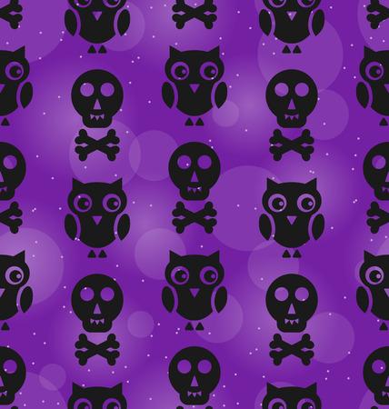 31th: Illustration Halloween Abstract Seamless Texture with Owl Birds and Skulls Bones - Vector