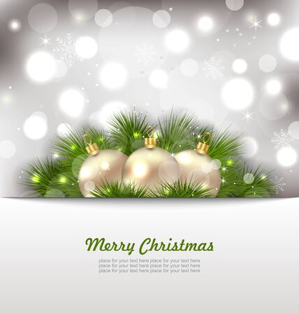 twigs: Illustration Merry Christmas Card with Fir Twigs and Golden Balls - Vector
