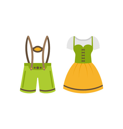 Illustration Male and Female National Bavarian Costumes Isolated on White Background - Vector