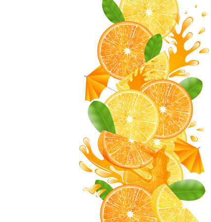 Illustration Abstract Border with Sliced Oranges and Lemons, Leaves and Juice Splash Fruits, Isolated on White Background - Vector