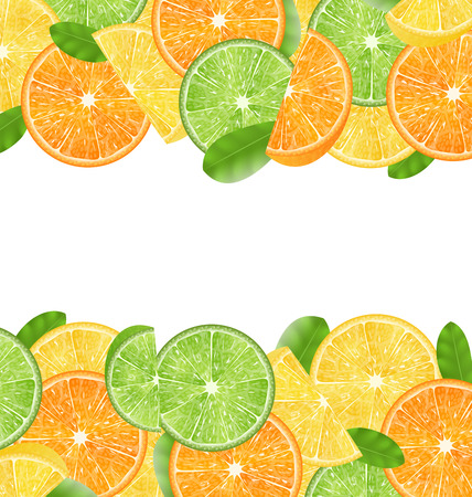 Illustration Abstract Frame with Sliced Oranges, Limes and Lemons, Copy Space for Your Text - Vector