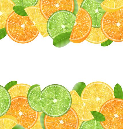Illustratie Abstract Frame met gesneden sinaasappelen, limoenen en citroenen, kopie ruimte voor uw tekst - Vector