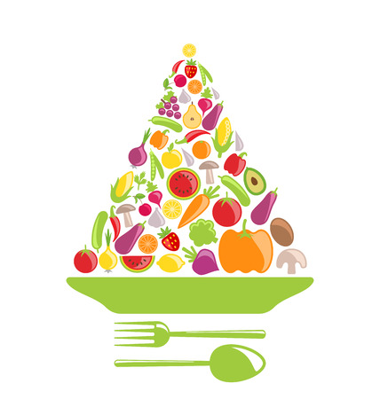 healthy foods: Illustration Pyramid of Vegetables and Fruits, Colorful Healthy Foods - Vector Illustration