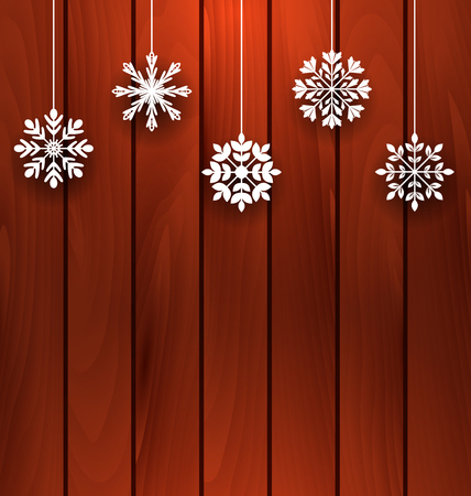 variation: Illustration Wooden Background with Variation Snowflakes for Merry Christmas  - Vector