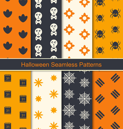 illustration collection: Illustration Collection Seamless Textures for Happy Halloween, Abstract Patterns for Textile - Vector Illustration