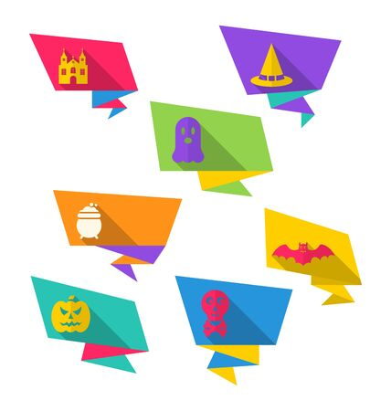 31th: Illustration Colorful Origami Paper Banners with Flat Icons of Halloween Symbols - Vector