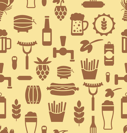 beers: Illustration Seamless Pattern with Icons of Beers and Snacks, Old Food Wallpaper - Vector