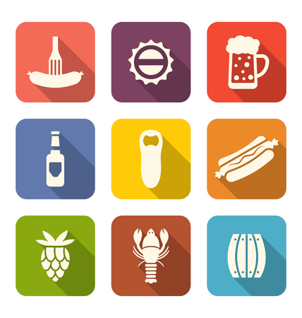 snacks: Illustration Group Minimal Colorful Icons of Beers and Snacks - Vector Illustration