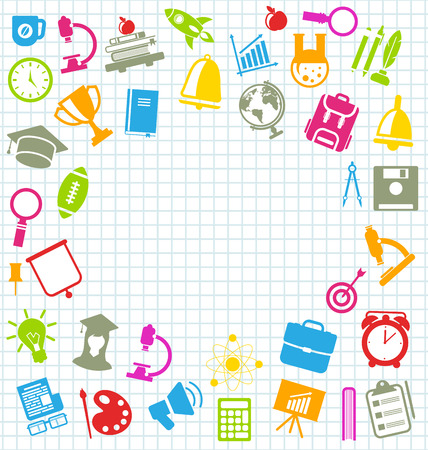 illustration collection: Illustration Collection of Education Flat Colorful Simple Icons on School Grid Paper Sheet - Vector