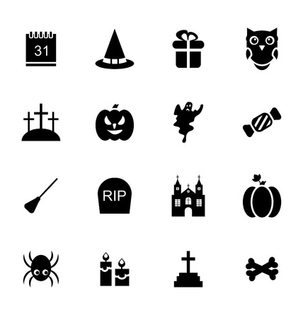 31th: Illustration Halloween Traditional Icons Isolated on White Background - Vector Illustration