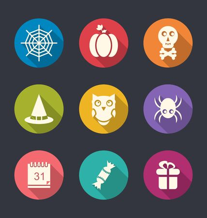 31th: Illustration of Halloween Flat Icons with Long Shadows - Vector