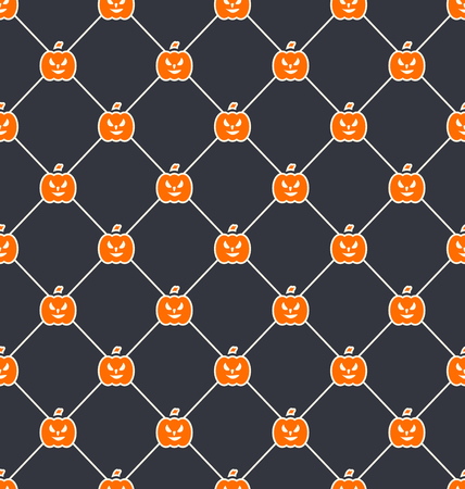 31th: Illustration Seamless Texture with Carving Pumpkins, Halloween Wallpaper - Vector Illustration