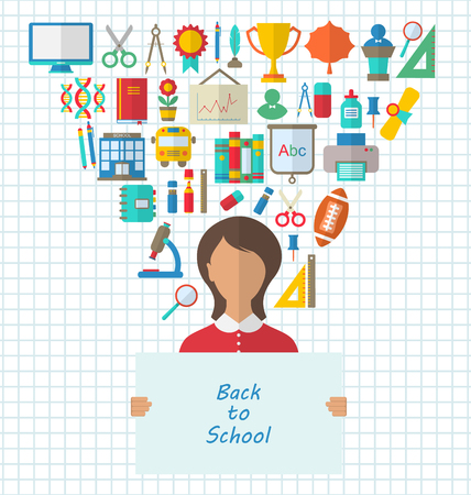 papier banner: Illustration Set of Education Flat Colorful Icons with Schoolgirl holds Paper Banner- Vector Illustration