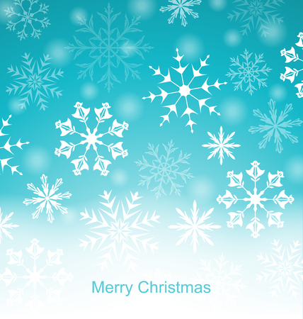 weihnachten: Illustration Xmas Blue Background with Snowflakes - vector