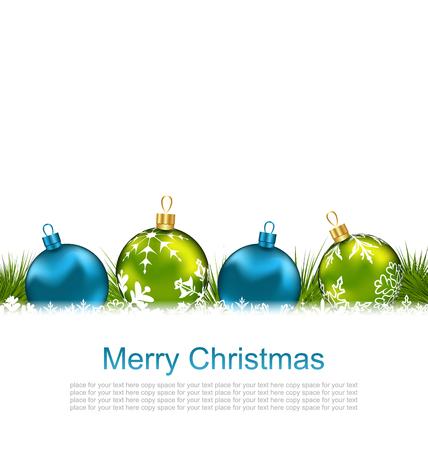 Illustration Winter Celebration Postcard with Chrismas Colorful Balls - Vector