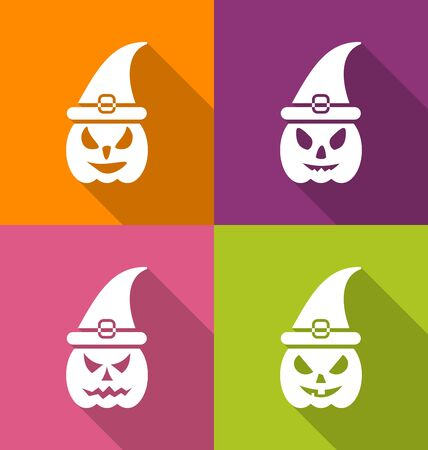 31th: Illustration Halloween Carving Paper Pumpkins with Hats, Long Shadow Style - Vector