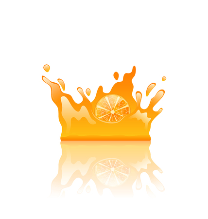 disperse: Illustration Orange Juicy Splash Crown with Slice of Fruit, Isolated on White Background - Vector Illustration