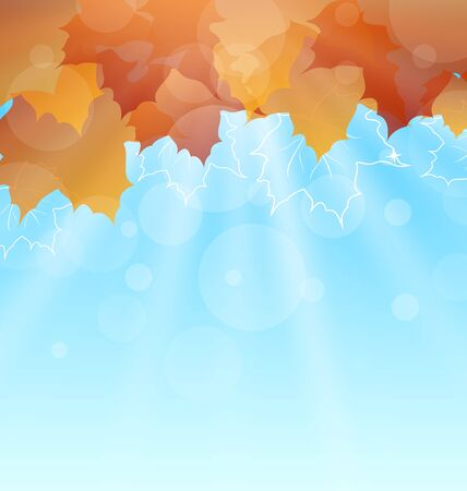 autumn leaves background: Illustration Abstract Autumn Background with Leaves and Sunny Rays - Vector
