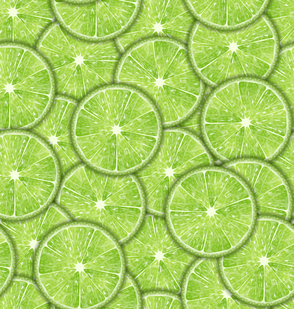 Illustration Seamless Pattern Slices of Lime, Repetition Background - Vector Illustration