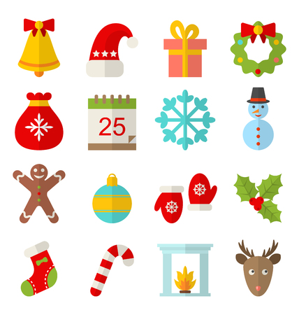 Illustration Christmas and Winter Traditional Symbols, Minimalism Style - Vector Vectores