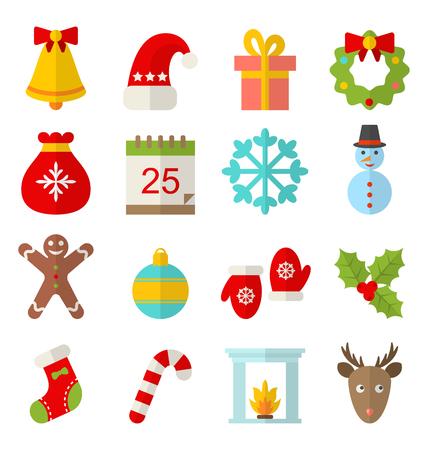 Illustration Christmas and Winter Traditional Symbols, Minimalism Style - Vector Illustration