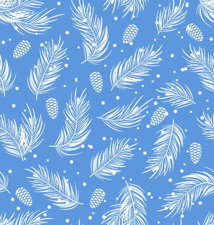 winter wallpaper: Illustration Seamless Pattern with Fir Branches and Cones, Winter Wallpaper - Vector