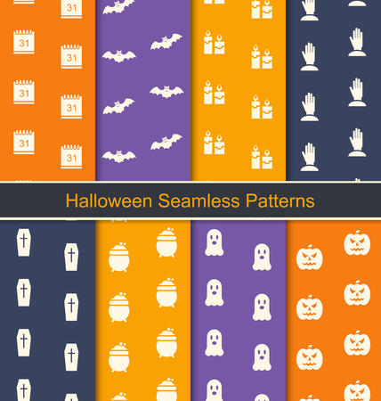 31th: Illustration Set Seamless Textures with Halloween Symbols for Happy Holiday - Vector