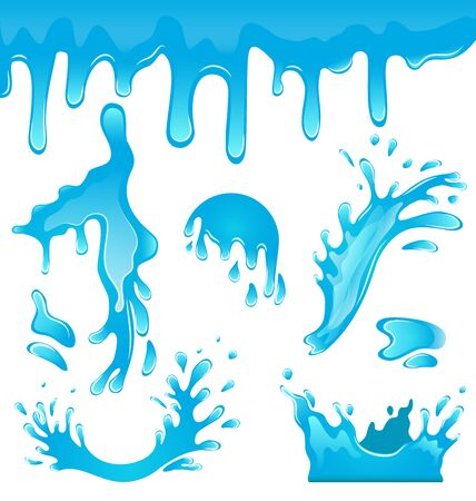 the surge: Illustration Blue Water Drops, Splashing Waves, Crown, Surge, Puddle, Ripples, Set Isolated on White Background - Vector Illustration