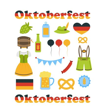 wiesn: Illustration Oktoberfest Colorful Symbols Isolated on White Background - Vector