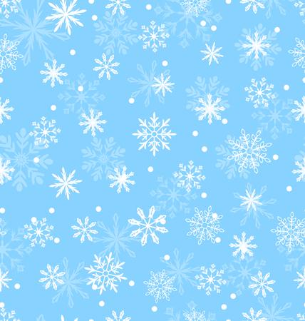 variation: Illustration Seamless Pattern with Variation Snowflakes, Winter Background - Vector Illustration