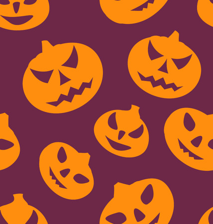 31th: Illustration Seamless Texture with Carving Pumpkins, Halloween Giftwrap - Vector