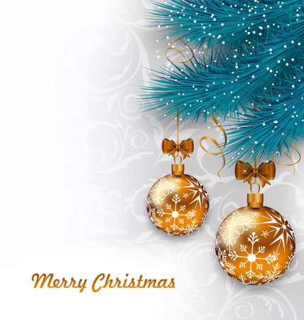 weihnachten: Illustration Christmas Background with Glass Balls and Fir Branches - vector