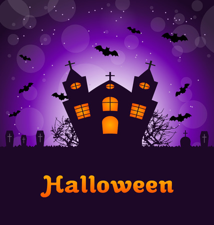 angry sky: Illustration Halloween Greeting Card with Castle, Bats, Cemetery. Advertising Flyer for Party - Vector