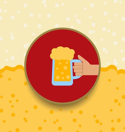 oktoberfest background: Illustration Oktoberfest Background with Mug of Beer - Vector
