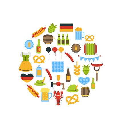 lederhosen: Illustration Oktoberfest Colorful Symbols in Round Frame, Isolated on White Background - Vector
