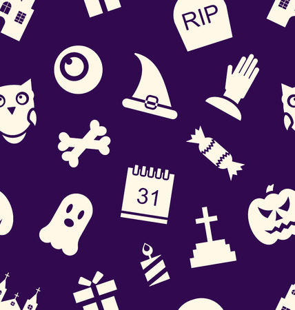 31th: Illustration Halloween Seamless Pattern with Traditional Symbols - Vector