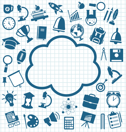 illustration collection: Illustration Collection of Education Flat Simple Icons on School Grid Paper Sheet - Vector