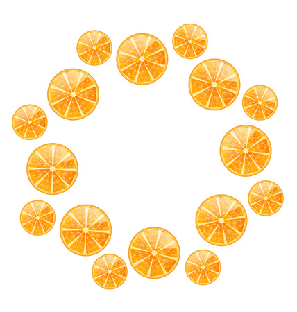 Illustration Abstract Round Frame with Sliced Oranges, Isolated on White Background - Vector