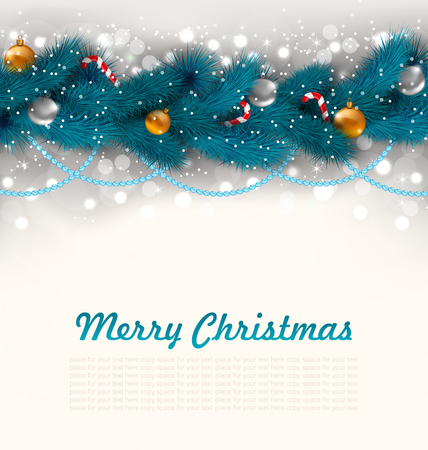 canes: Illustration Merry Christmas Background with Fir Branches, Glass Balls and Sweet Canes - Vector
