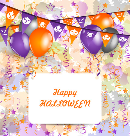 celebration card: Illustration Halloween Decoration (Bunting Pennants, Balloons) with Celebration Card - Vector Illustration