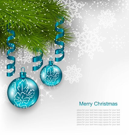 adornment: Illustration Christmas Background with Hanging Glass Balls and Adornment - Vector