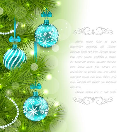weihnachten: Illustration Christmas Glowing Card with Fir Twigs and Glass Balls - Vector