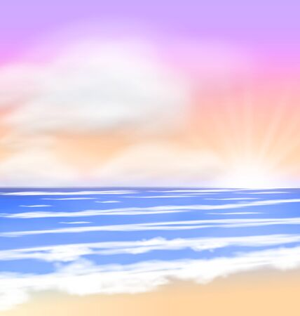 fluffy clouds: Sea Sunrise with Bright Sun Colorful Sky Fluffy Clouds - vector