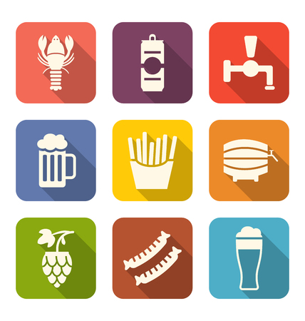 suds: Illustration Group Minimal Colorful Icons of Beers and Snacks - Vector Illustration