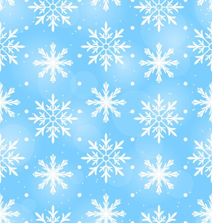 Illustration Seamless Wallpaper with Different Snowflakes, December Background - Vector Illustration