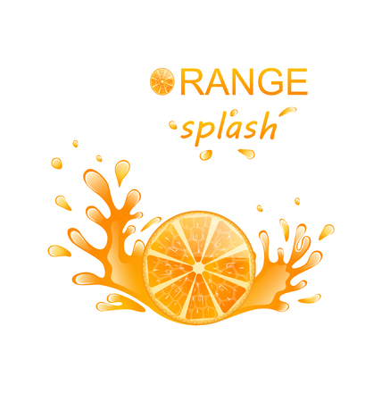 Illustration Slice of Orange with Splashing, Isolated on White Background - Vector Illustration