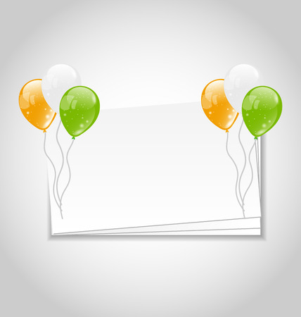 independencia: Ilustración Celebración tarjeta con globos en colores nacionales de la bandera para el Día de la Independencia de la India - Vector