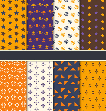 31th: Illustration Set Seamless Patterns for Happy Halloween, Abstract Textures for Fabrics - Vector Illustration