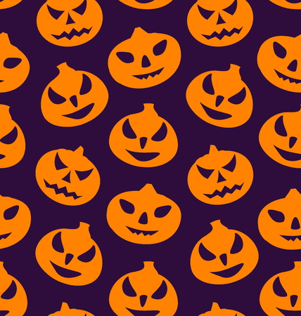 31th: Illustration Seamless Pattern with Spooky Pumpkins, Halloween Wallpaper - Vector